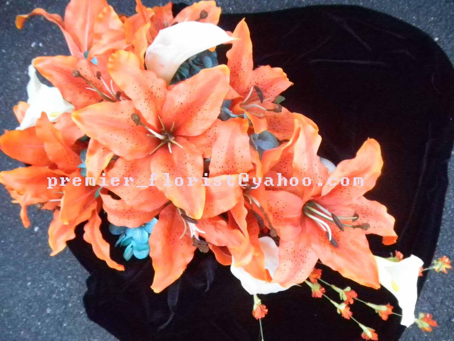 Stargazer lily cascade bridal bouquet white real touch calla and stargazer lily cascade bridal bouquet white real touch calla and orange coral rhubrum tiger lilies roses teal turquoise blue hydrangea izmirmasajfo