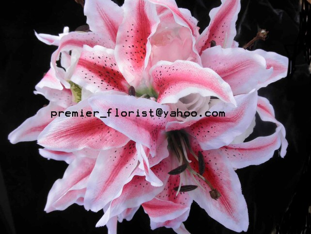 Hot pink lily bridal bouquet stargazer lily white rose pink etsy image 0 mightylinksfo