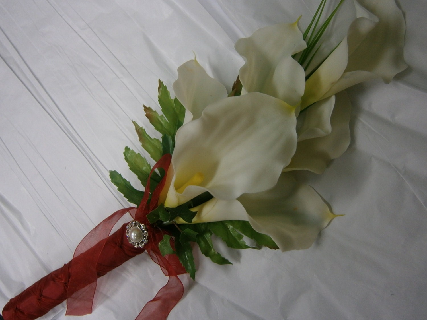 Red And White Calla Bouquet White Lily Wedding Bridal Bridesmaid