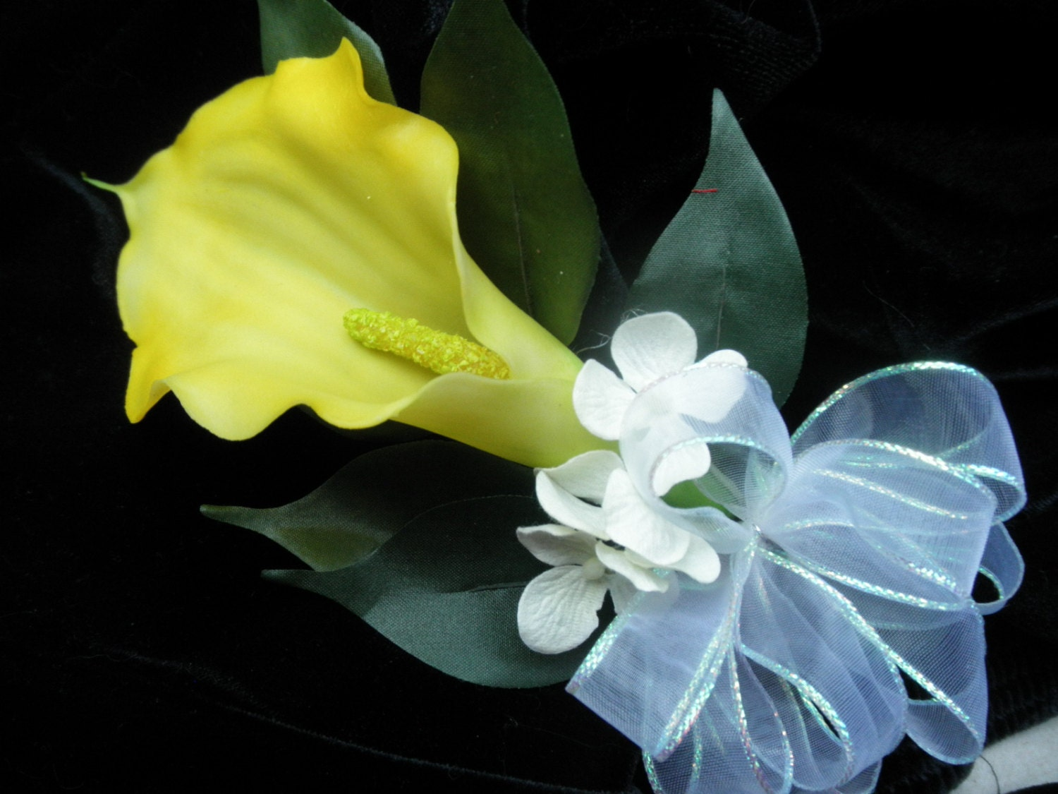 Yellow Calla Silk Corsage And Or Boutonniere You Pick Quantity