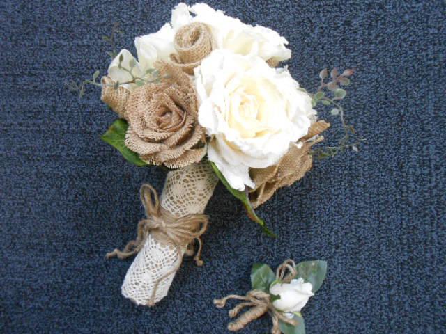 13 pc. set: Rustic Wedding Silk Flowers Ivory Tan Burlap & Lace ...