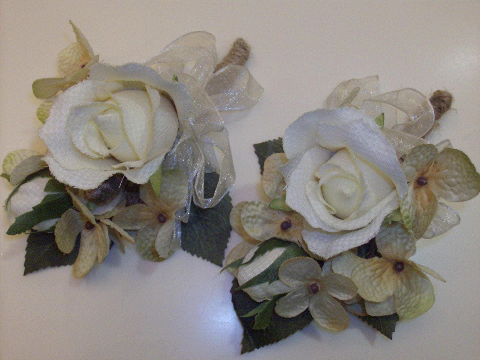 2 Pc Set Rustic Wedding Burlap Rose Corsages Silk Flowers