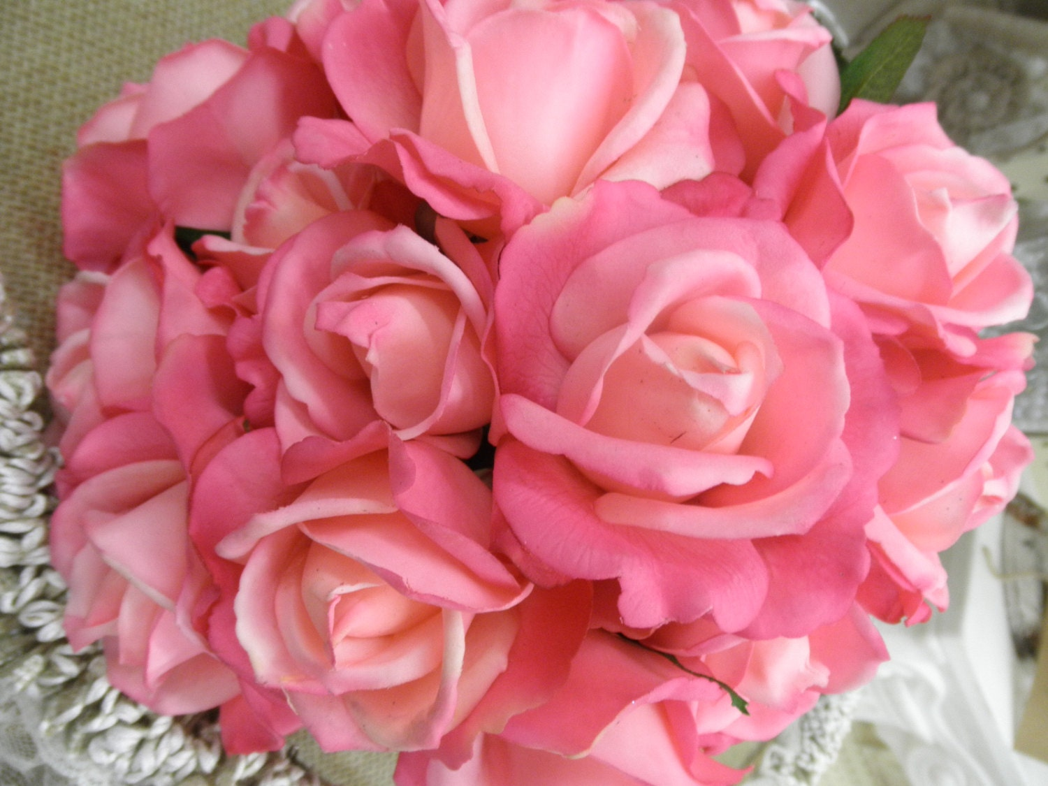 True Touch ROSE Bridal Bridesmaid Bouquet. Real Touch Wedding Hot ...