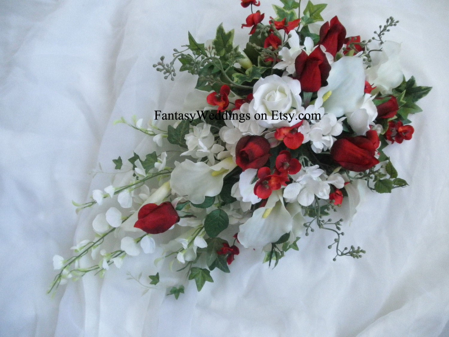 Cascade Bridal Wedding Bouquet 2 Pc Set Red And White Silk Flower