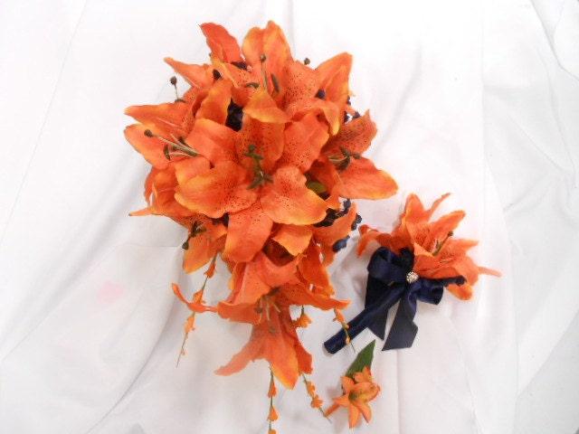 Stargazer lily cascade bridal bouquet orange lilies or hot pink stargazer lily cascade bridal bouquet orange lilies or hot pink fuschia lily white calla lily rose waterfall teardrop bouquet silk flowers mightylinksfo