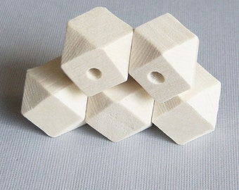 6/Natural Wood Beads, Faceted Cubes,  Geometric Beads, Unpainted