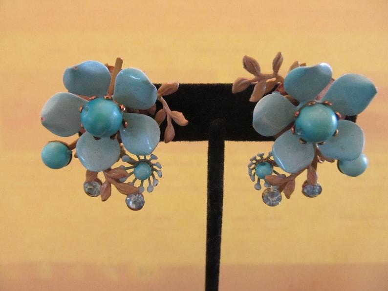 Vintage Blue Flower Metal Earrings with Rhinestones and Blue Beads