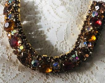 Vintage Kramer of NY Rhinestone Bracelet- Amber Orange