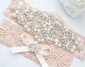 BLUSH PINK SALE Crystal pearl Wedding Garter Set, Stretch Lace Garter, Rhinestone Crystal Bridal Garters