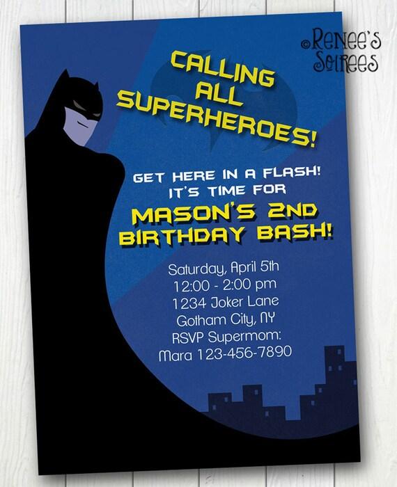 BAT KID Birthday Invitation Printable Super Hero Invite