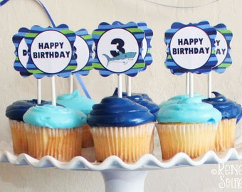 SHARK Collection - Birthday Party - Customized - DIY Printable Coordinating Design Accessories - Ocean - Sea