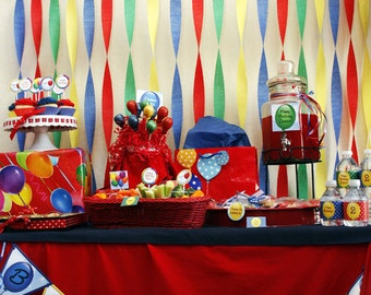 BALLOON Birthday Party - CUSTOMIZED - Printable Coordinating Design Accessories Collection DIY