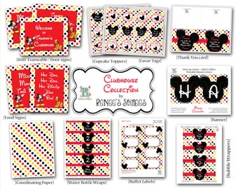 MOUSE CLUBHOUSE Printable Birthday Collection - Customized - DIY Mickey or Minnie Coordinating Design Accessories