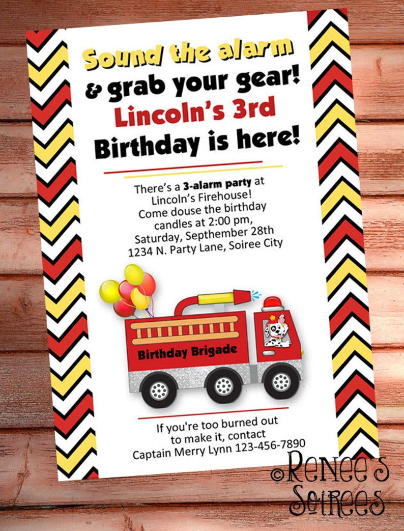 FIRE TRUCK INVITATION  Printable Fireman Birthday Invite  image 0