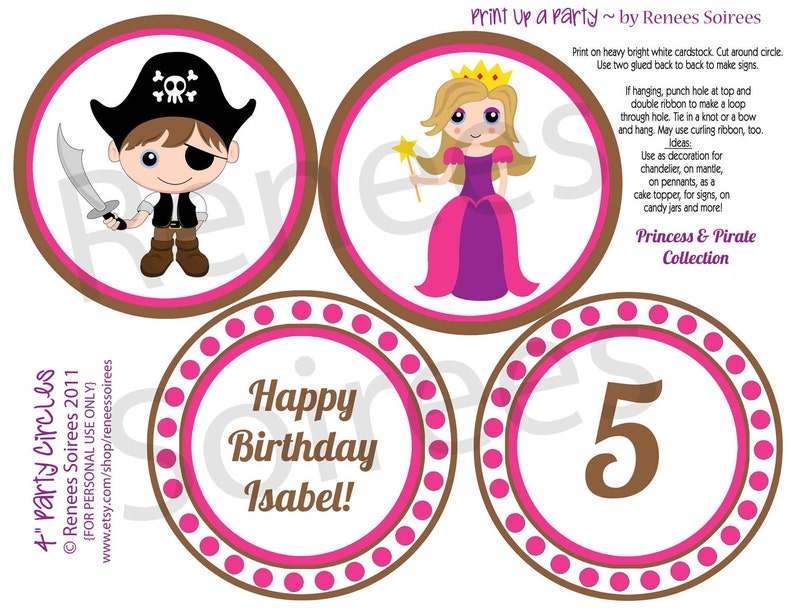 SALE PRINCESS and PIRATES Birthday Party Printables Customized Coordinating Design Accessories Collection