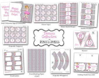 DANCER Printable Birthday Collection - Customized for your Ballerina Party - DIY Coordinating Design Accessories