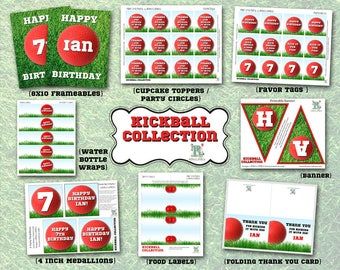 KICKBALL PARTY Printable Collection - for Birthday Party or Baby Shower- Customized - DIY Coordinating Design Accessories