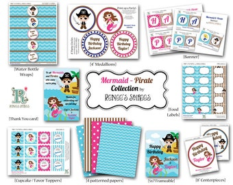 Co-ed MERMAID and PIRATE Birthday Party - CUSTOMIZED - Printable Coordinating Design Accessories Collection