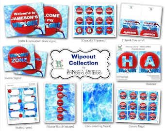 WIPEOUT Printable Birthday Collection - Customized - DIY Coordinating Design Accessories