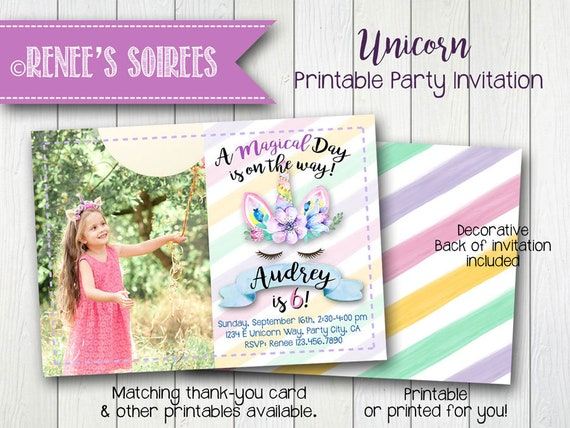 UNICORN Party Printable Birthday Invitation Photo Invite