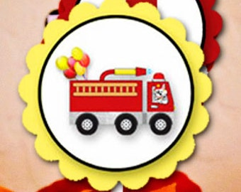 FIRE TRUCK Collection - for Birthday Party or Baby Shower - Customized - DIY Fireman Fire House Printable Coordinating Design Accessories