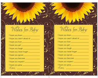 SUNFLOWER BABY SHOWER Printable Party Game or Gift - Immediate Download - diy