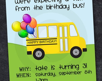 SCHOOL BUS Invitation - ABC Birthday, Retirement, Graduation or Back to School Party - Customized - Diy Printable
