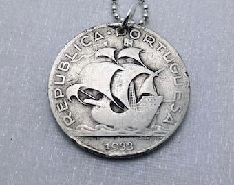 Portugal necklace. Silver Ship COIN NECKLACE. Portuguese 2.5 escudos coin pendant. Caravelle ship. Antique silver medallion. mens necklace