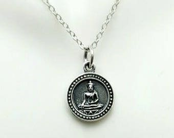 Kwan Yin necklace, Sterling Silver Bodhisattva necklace, Goddess necklace, Buddhist jewelry, reversible, yoga jewelry, meditation jewelry