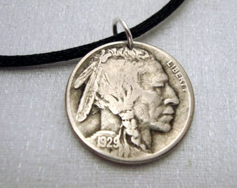 BUFFALO NICKEL COIN necklace - bison - indian head - first nations - man necklace - mens jewelry - Native American - antique buffalo nickel