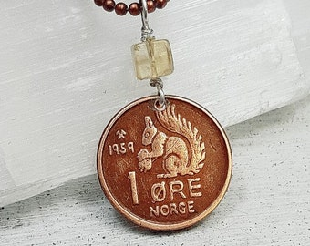 Vintage 1959 SQUIRREL COIN from Norway. coin necklace. citrine pendant. squirrel necklace. squirrel jewelry,acorn necklace,coin pendant
