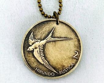 Coin Jewelry - BIRD COIN necklace - Barn Swallow  -  Flying bird - sparrow - bird necklace - bird jewelry - Slovenia - vintage bird pendant