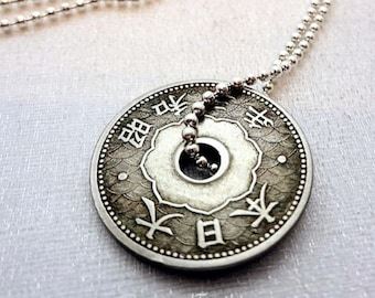 Japanese necklace etsy antique japanese coin necklace 10 sen coin japan necklace japan jewelry antique coin necklace kanji necklace kanji jewelry aloadofball Image collections
