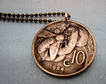 Scratch and Dent Sale - Bee Flower necklace - Coin Jewelry - Antique copper Italy coin - various years - Italy - bee on flower - art nouveau