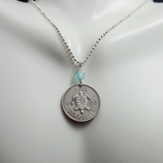 vintage sea TURTLE COIN NECKLACE from Fiji Turtle jewelry turtle necklace sea turtle Coin jewelry Topaz necklace
