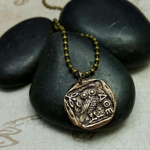 Eule Von Athena Halskette Eule Münzenhalskette Eule Etsy