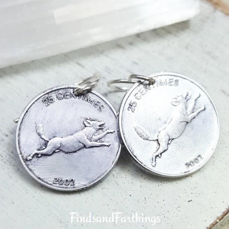 Coin Earrings lion earrings African lion.Coin jewelry Dog earrings ...