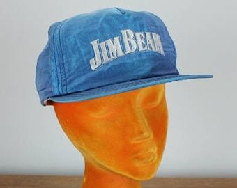 Vintage Jim Beam Nylon Snapback Hat Whiskey Liquor Cap Blue 90 s 80 s  American Needle 34654db65638