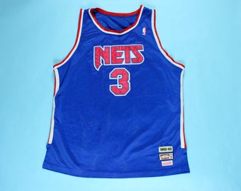 46e177703f0 Vintage Drazen Petrovic New Jersey Nets Jersey 90's Mitchell Ness Sewn On  Lettering NBA 1992-93 Throwback