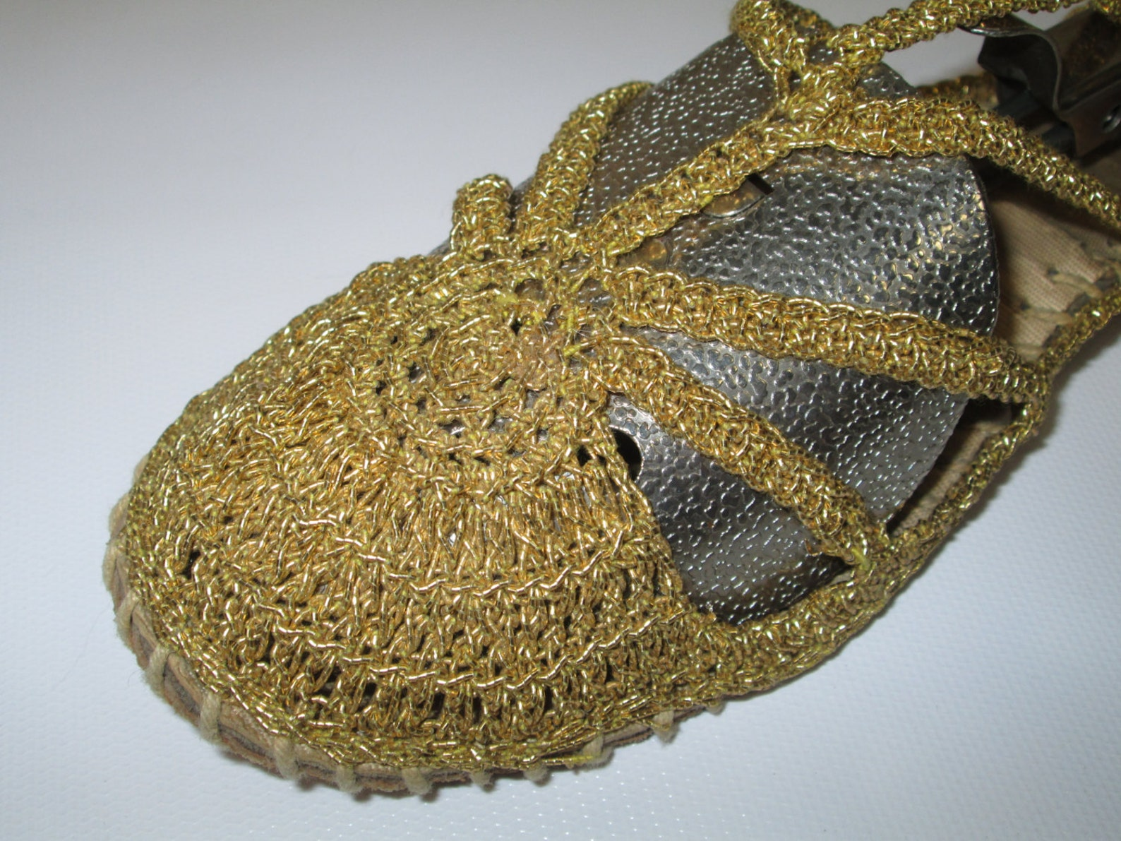 gladiator gold ballet ballerina flats woven crochet slippers dance metallic strappy sandals women's grecian goddess shoes we