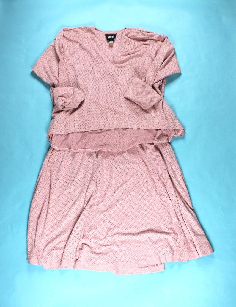 e42c42d9a5b Vintage 90 s Blush Pink Faux Suede Suit High Waist Skirt