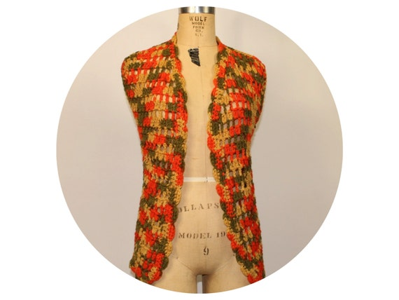 70s Vintage CROCHET VEST Sweater Hippie Boho Retro
