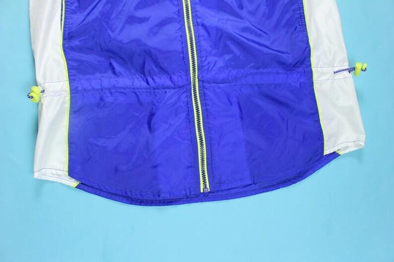 f8a72d36cb3e1 Vintage 90's Nike Vest Full Zip M Nylon White Blue Volt Neon Green Air Max  97 95 Windbreaker