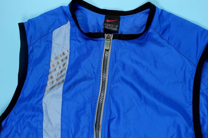 e74091147916e Vintage 90's Nike Vest Full Zip LARGE Nylon Blue Volt Neon Green Grey 3M  Air Max 97 95 Windbreaker Techwear Running