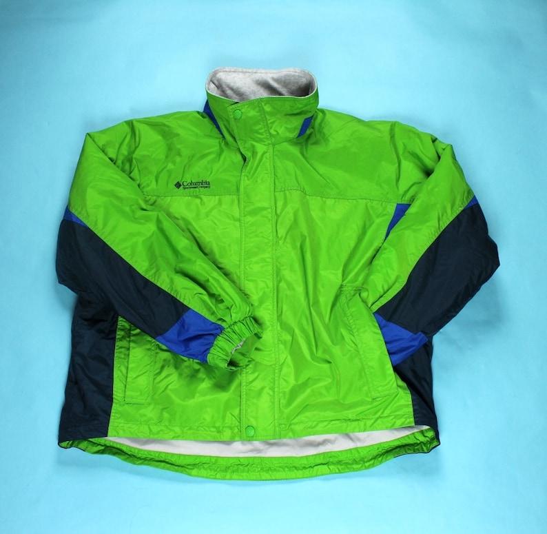 f7a51260433cd Vintage 90's COLUMBIA Fleece Lined Nylon Shell Jacket Size XL Blue Green  Navy Grey Classic Full Zip