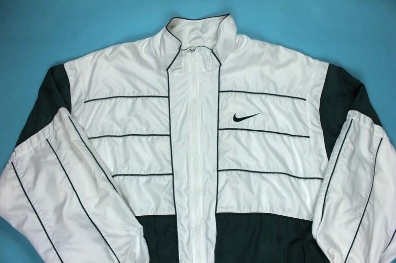 c6853a9fe33b9 Vintage 90's Nike Windbreaker Jacket XL Forest Green White Nylon Classic  Sportswear Streetwear Full Zip