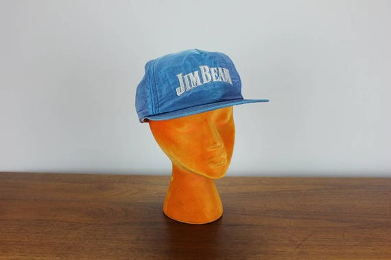 7f97c9044f9 Vintage Jim Beam Nylon Snapback Hat Whiskey Liquor Cap Blue