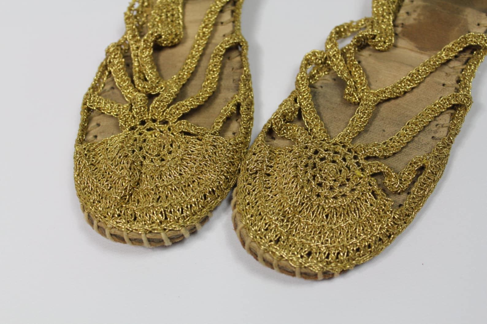 gladiator gold ballet ballerina flats woven crochet slippers dance metallic strappy sandals women's grecian goddess shoes we