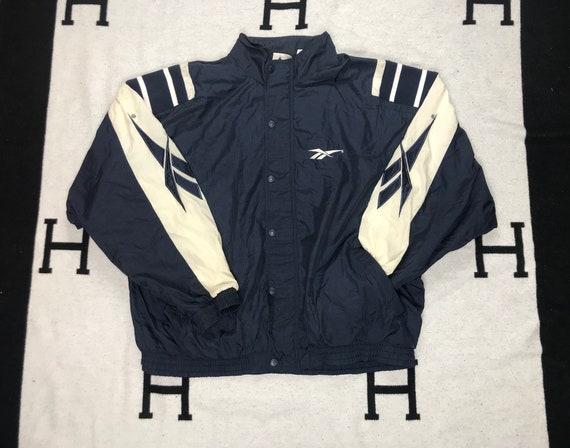 3ed8964fc383a Vintage 90's Reebok Windbreaker Jacket XL Nylon White Navy Blue Block  Embroidered Full Zip