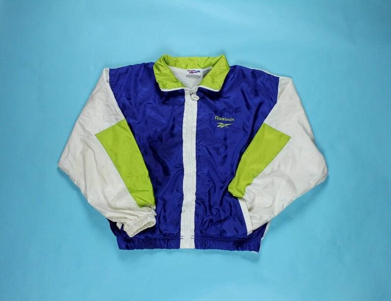 426c8156114e5 Vintage 90's Reebok Windbreaker Jacket MEDIUM Nylon White Blue Green Color  Block